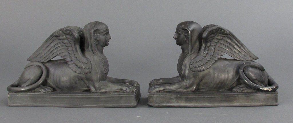 Pair EARLY Wedgwood Black Basalt Couchant Sphinx