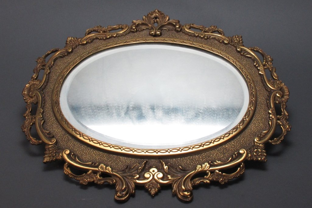 Antique Ornate Oval Brass Mirror NB & IW Ca 1900