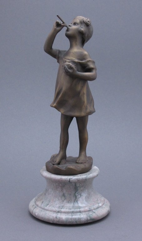 Brass Girl Figure on Circular Marble Base H. 9-1/4