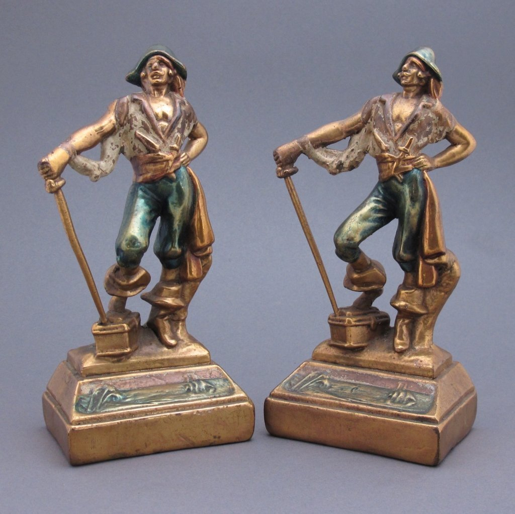 "Pair Polychrome Figural Bookends ""Pirate"""