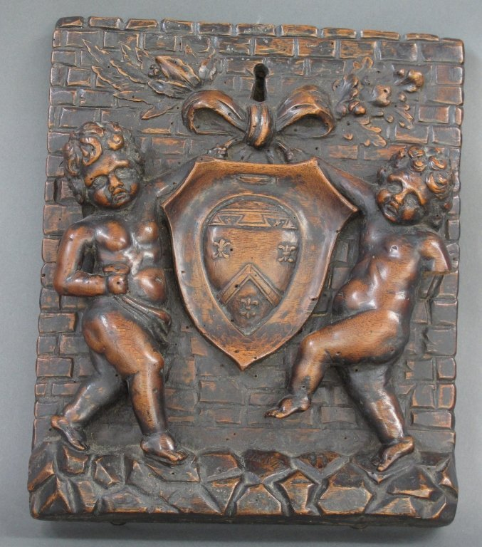 Dated Ca. 1558 Walnut Carved Coat of Arms