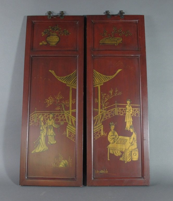 Pair of Rosewood Lacquer Panels