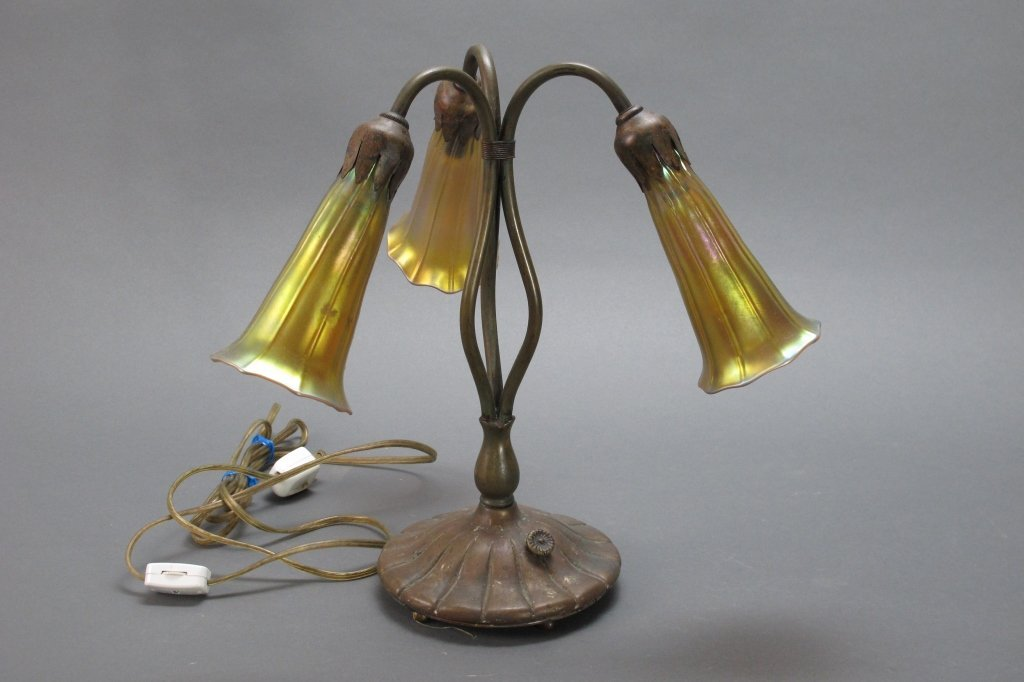 L. C. Tiffany Studios Lily Table Lamp signed glass,base