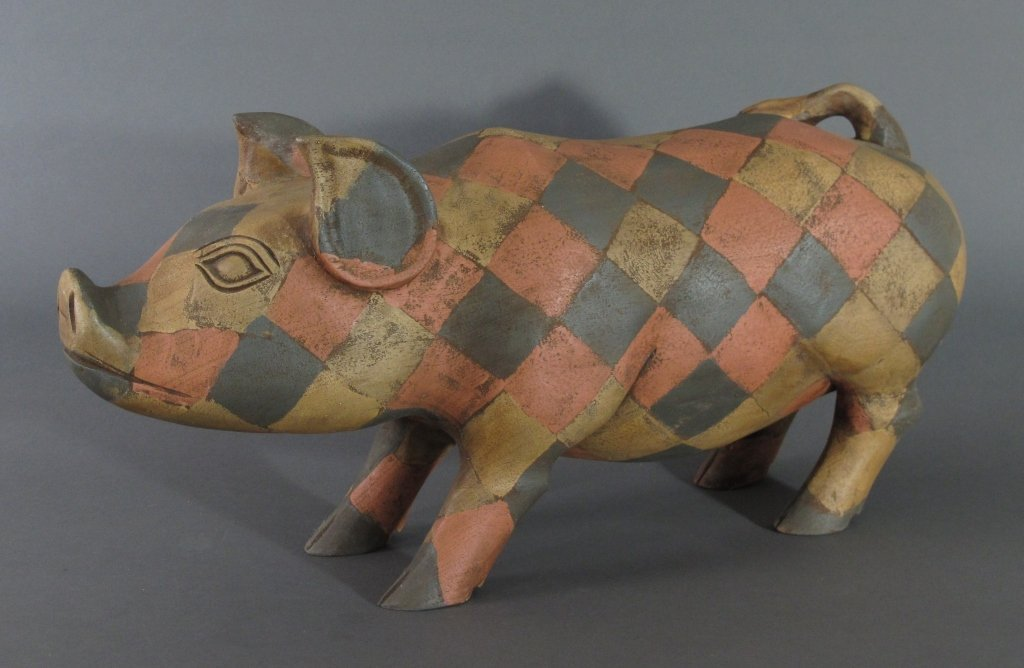 Carved Wooden Folk Art Pig
