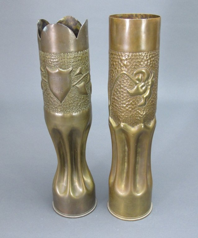 2  Heavy Brass Trench Art 75mm Shell Casing