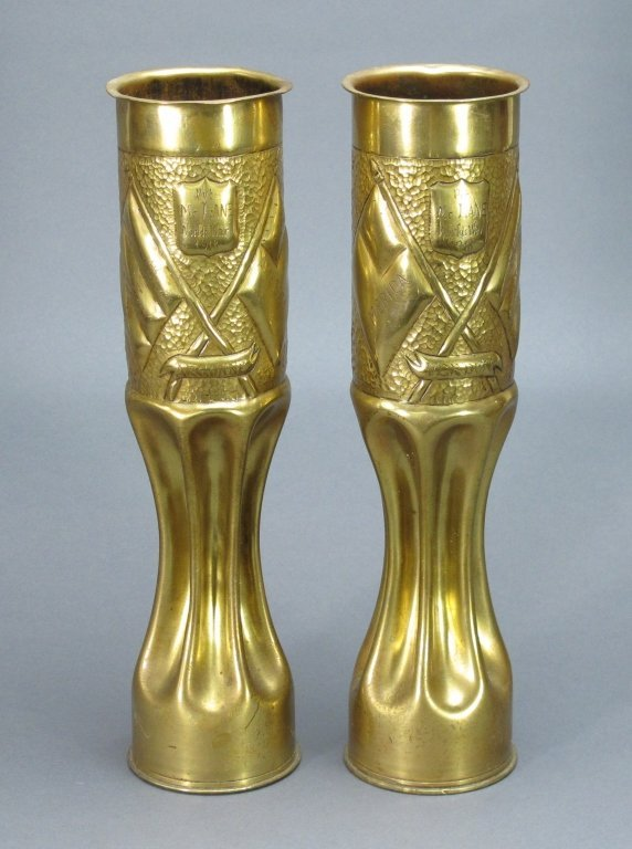 Pr Heavy Brass WWI 1918 Trench Art 75 mm Shell Cas