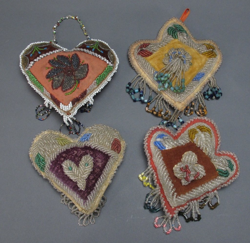 4 Native American Beaded Wall Hanging/Pin Cushions