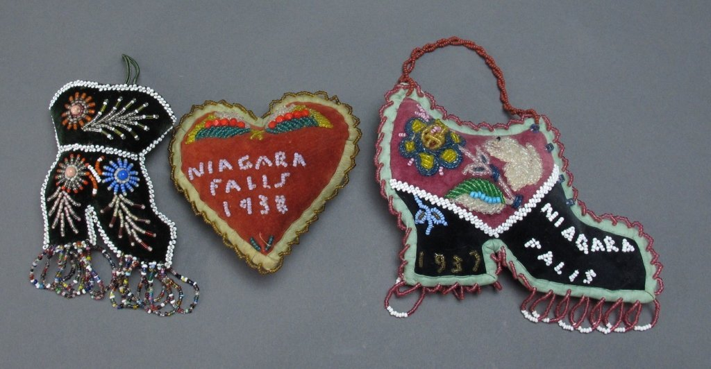 3 Native American Beaded Wall Hanging/Pin Cushions