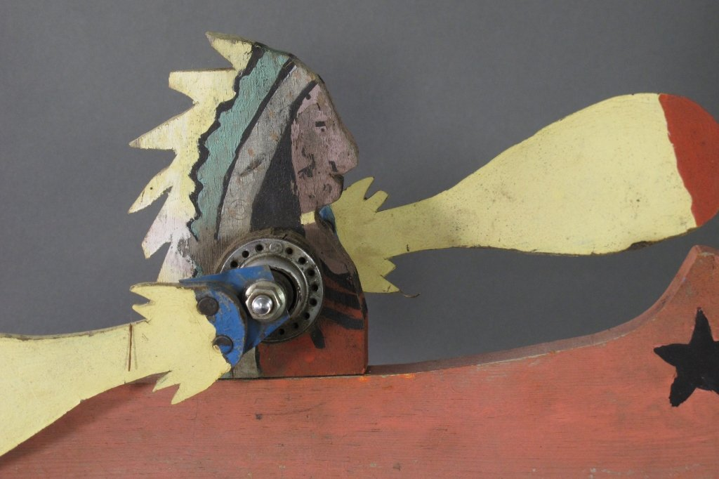 Painted Indian In Canoe Whirligig - 3