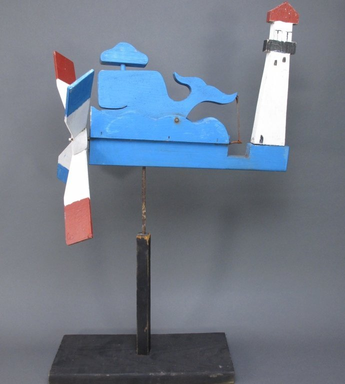 Painted Whale and Lighthouse Whirligig