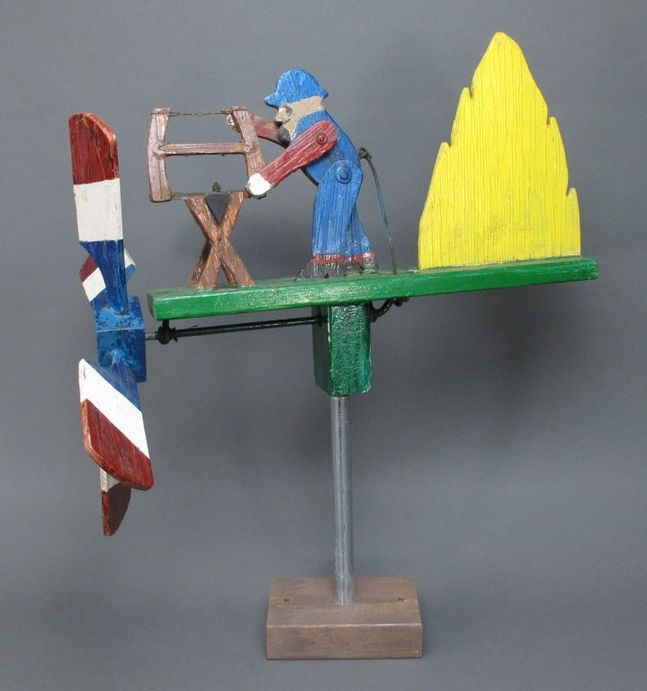 Painted Sawing Man Whirligig