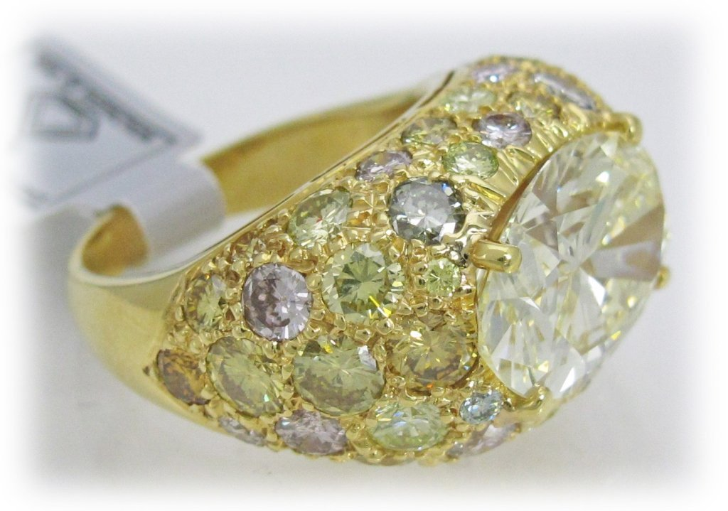 12.50 Cts. Fancy Colors Diamond Ring w/7 Ct. Cente