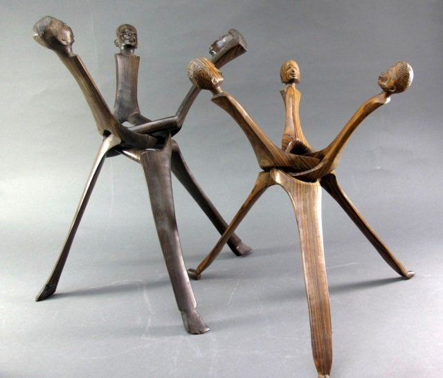 Carved Wood African Tripods