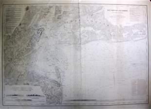 1845 U.S. Coastal Survey Print NY Bay and Harbor