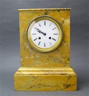 Sienna Marble Mantle Clock