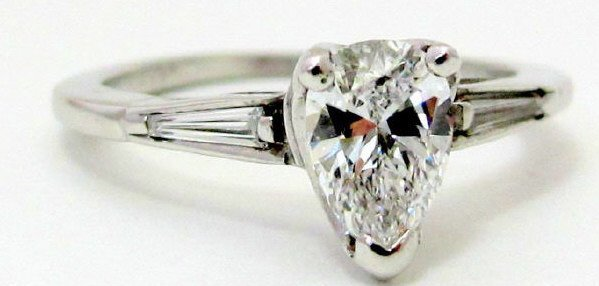 14K White Gold  Diamond Engagement Ring 1.07 Cttw