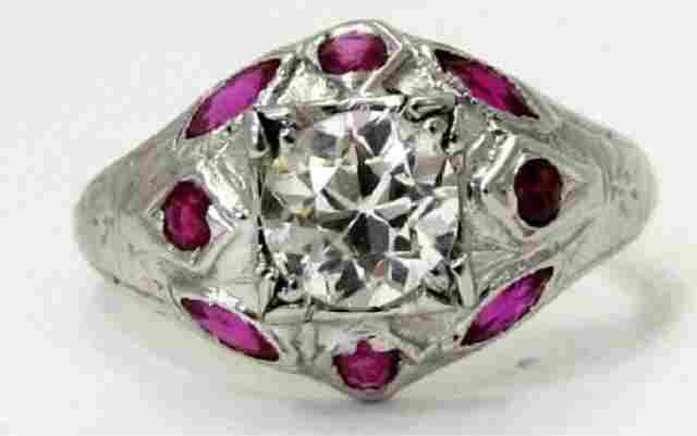 18K Ring 0.89 Old European Cut Diamond