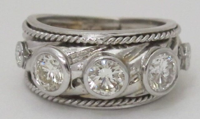 14K White Gold  Diamond Ring 1.14 Cttw