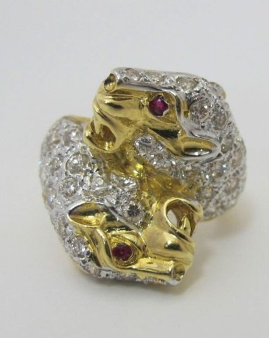 18K Diamond Double Panther Bypass Ring