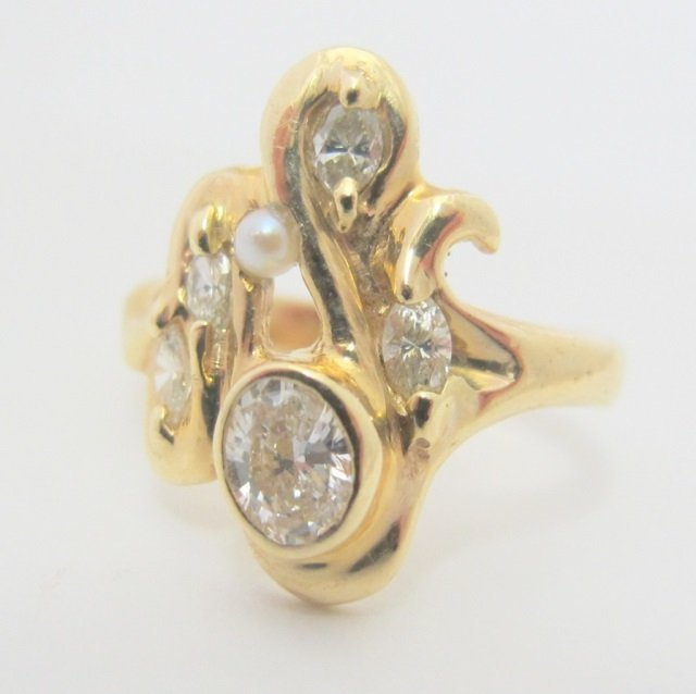 14K Gold Freeform Style Diamond Ring 1/2 cttw.