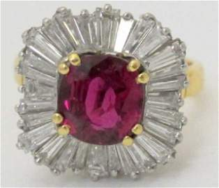 3.25 Ct. Natural Ruby and Diamond Ring 18K