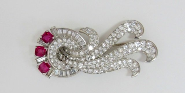 Platinum Retro Period Ruby 3 Cts. Diamond Brooch
