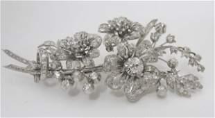 C1880 Platinum Diamond Floral Brooch 10Cttw