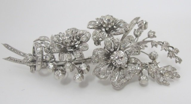 C1880 Platinum Diamond Floral Brooch 10Cttw