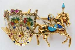 18K Enameled Horse and Carriage Brooch