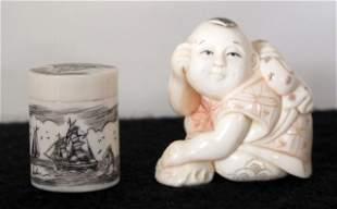 Ivory Netsuke, Scrimshaw Box