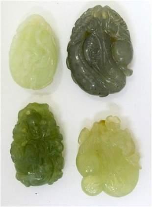 4 Carved Natural Jadeite Jade Netsukes