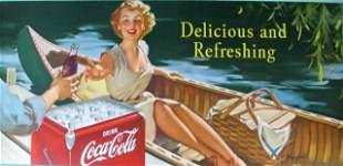 Coca Cola Bus Sign Authentic Ca. 1953