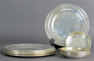 Sterling Silver Plates, Nut Dishes; Towle