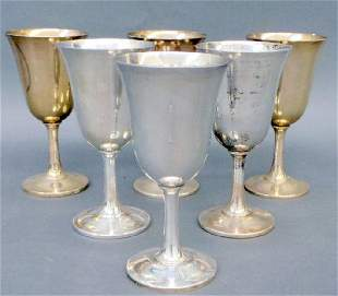 Set Of 6 Wallace Sterling Goblets