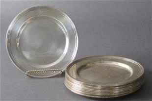 11 International Sterling Bread Plates