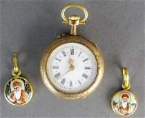 18K Pocket Watch with 2 18K Watch Charms