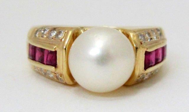 14K Pearl, Ruby, Diamond Ring