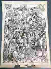 "Ca. 19th C ""The Crucifixion"" Albrecht Durer Engraving"