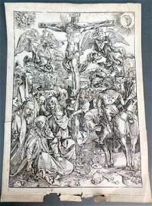 "Ca. 19th C ""The Crucifixion"" Albrecht Durer Engraving"