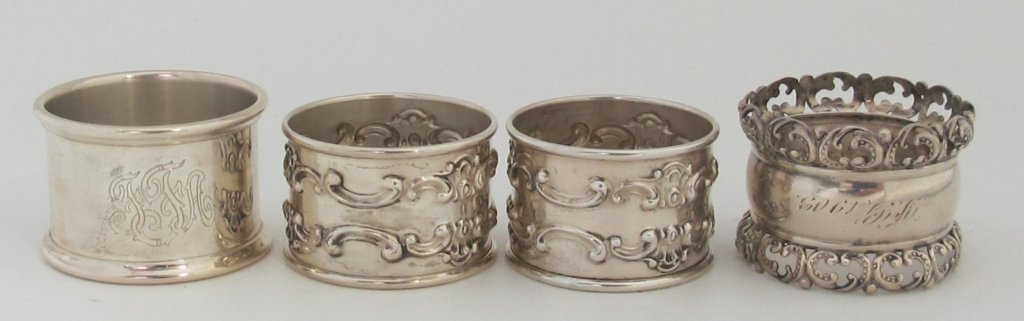 4 Sterling Silver Napkin RIngs