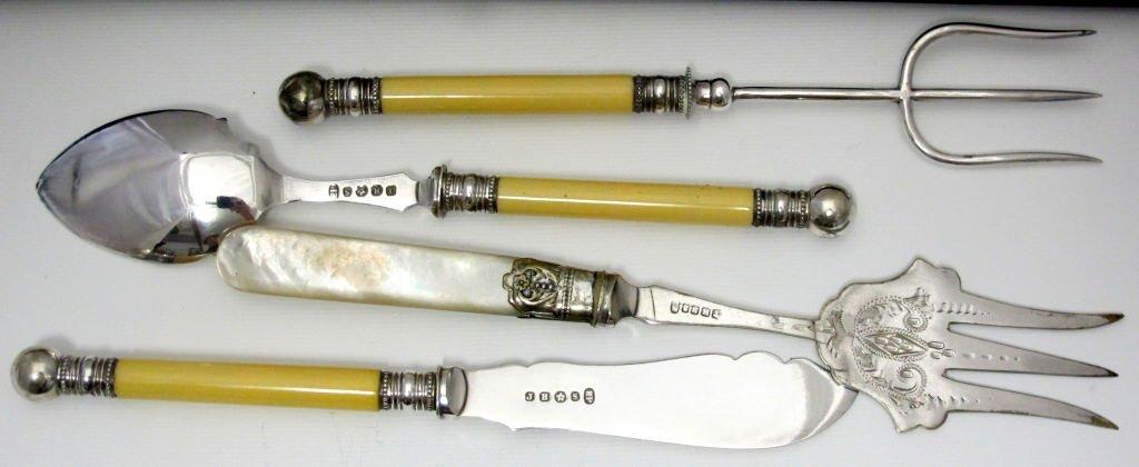 6 Pcs. Cutlery Silver Plate Ivorene Handles - 3