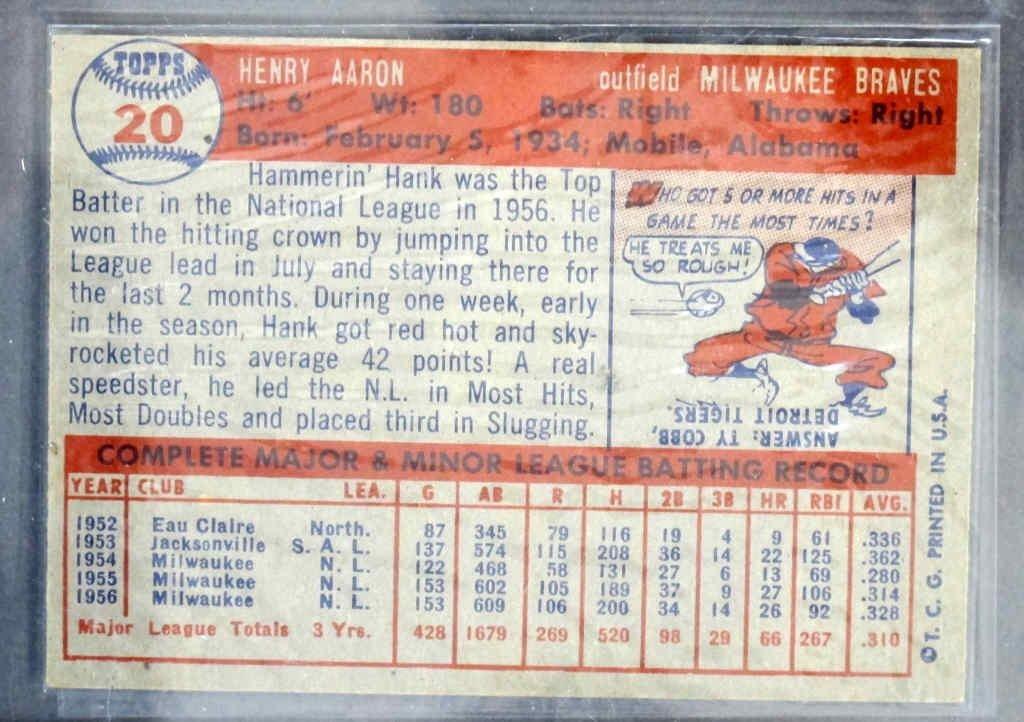 Hank Aaron Baseball Card - 2