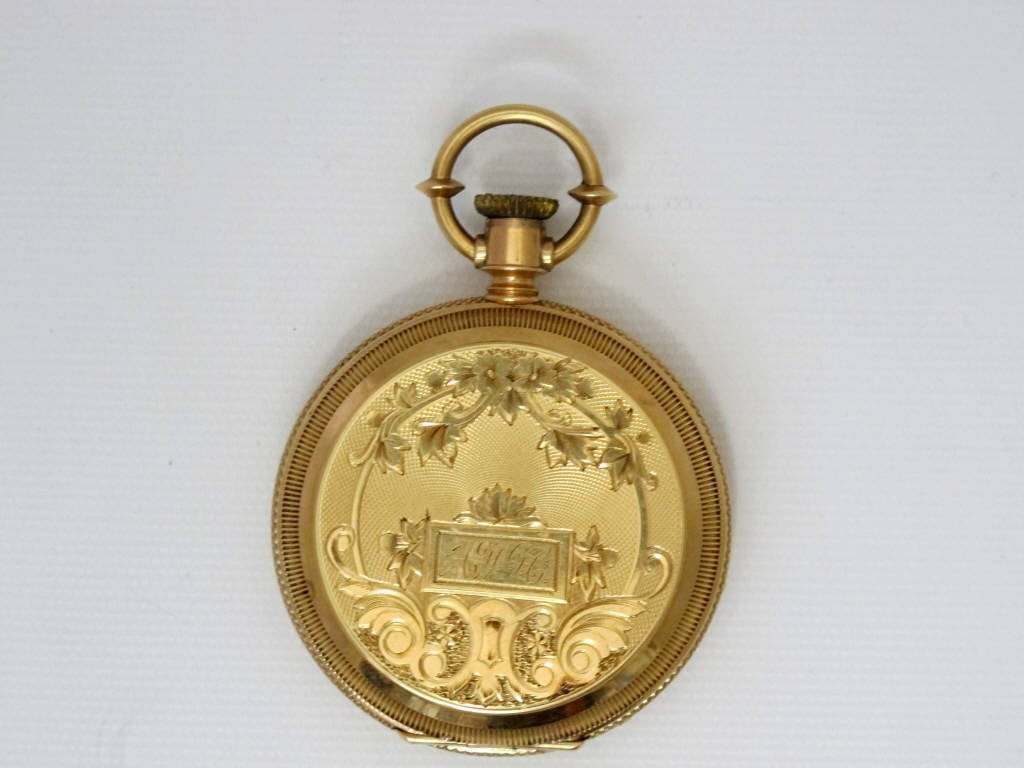 14K Gold Pocket Watch With Elgin Movement Key Wind - 2