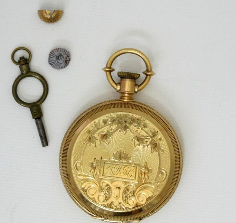 14K Gold Pocket Watch With Elgin Movement Key Wind - 3