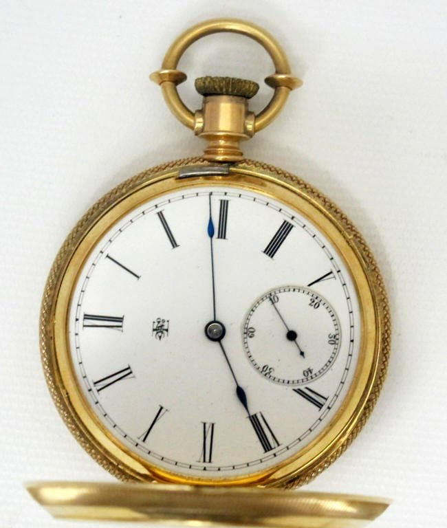 14K Gold Pocket Watch With Elgin Movement Key Wind - 4