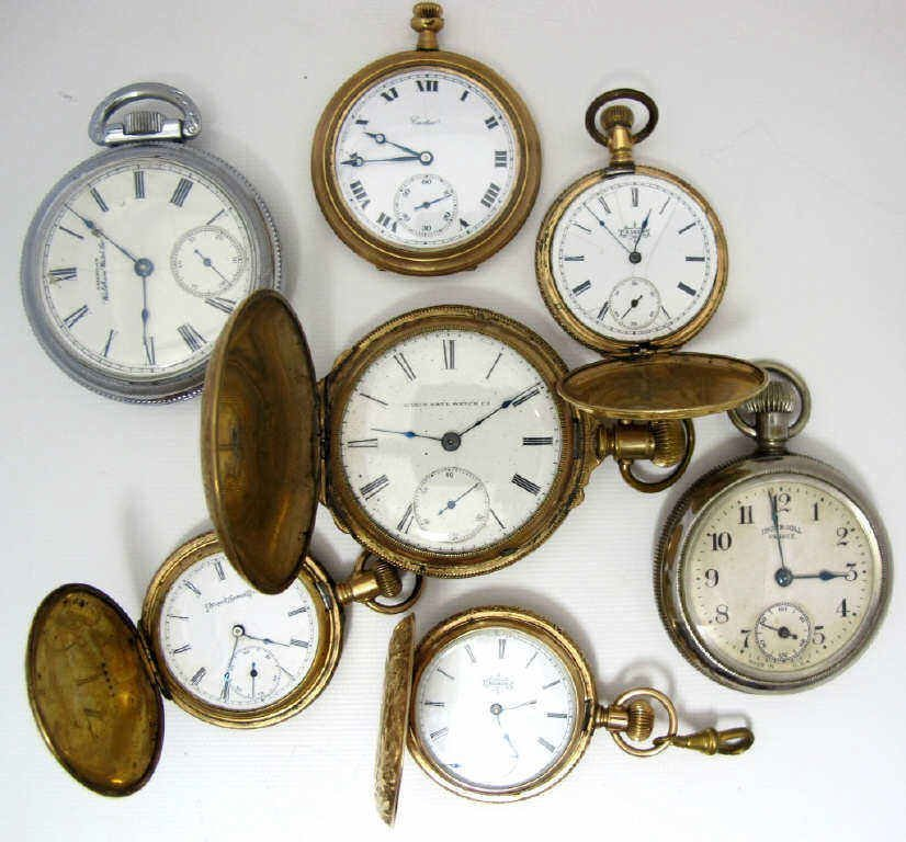 7 Assorted Pocket Watches for Parts