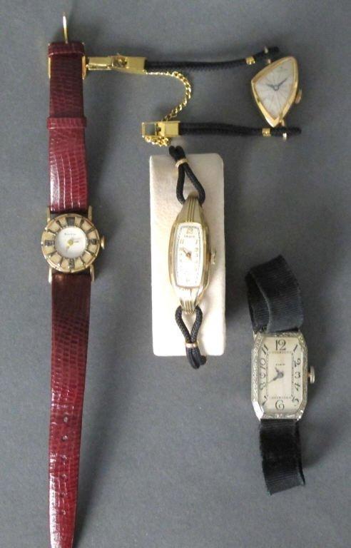 4 Ladies' Wrist Watches Hamilton, Bulova, Gruen, Elgin