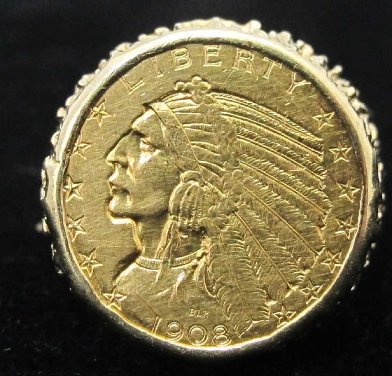 $5 Gold Indian Head Coin Ring