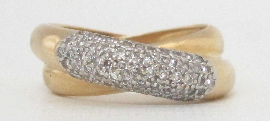 14K Criss-Cross Diamond Ring