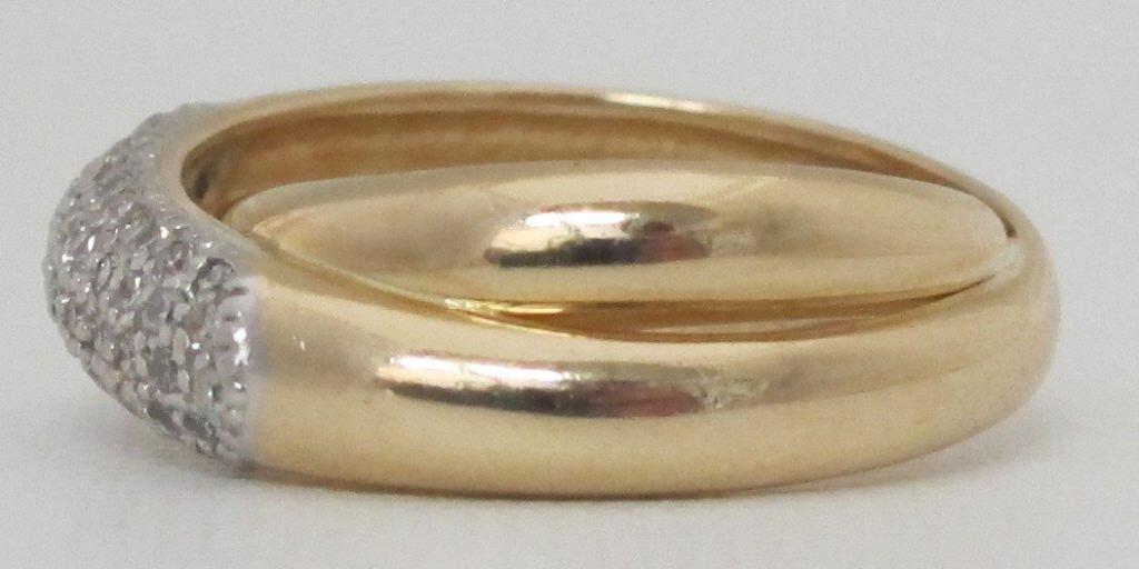 14K Criss-Cross Diamond Ring - 2